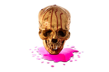 Skull with fake blood on white background