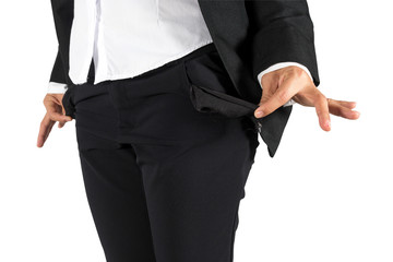 Empty money in the pocket of working women isolated white backgr