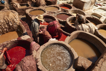 People working with tanks of dye and solvents in tannery, Medina, Fes, Morocco