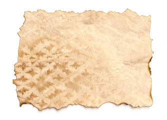 old paper sheet isolated on white