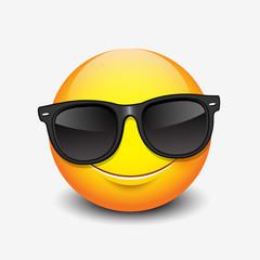 Cute smiling emoticon wearing black sunglasses, emoji, smiley