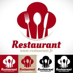 logo restaurant gastronomique toque cuillère couteau