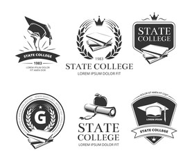 University, academy, college and school vector emblems, labels, badges