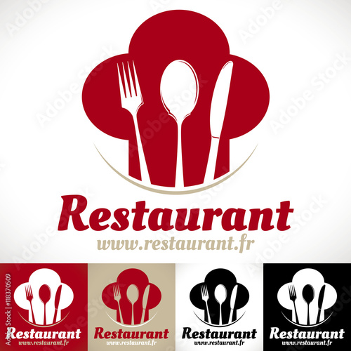 """Populaire logo restaurant gastronomique toque cuillère couteau"""" fichier  MT99"""