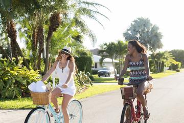 Smiling women riding bicycles