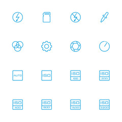 Control and setting blue line icons