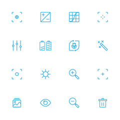 Photography  control blue line icons