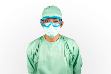 Surgeon doctor smile in mask isolated background