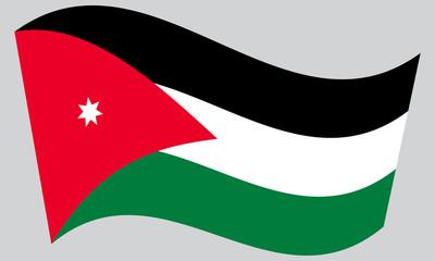 Flag of Jordan waving on gray background