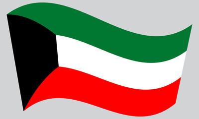 Flag of Kuwait waving on gray background