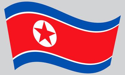 North Korean flag waving on gray background, DPRK