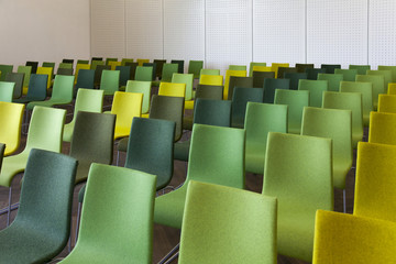Green Chairs in a Presentation Room