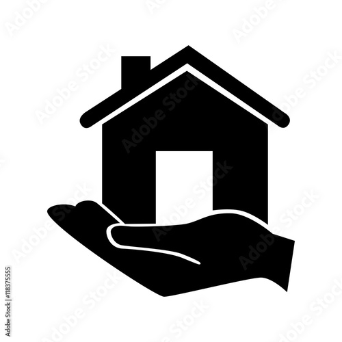 Quot Hand Holding House Classic Property Icon Vector Quot Stock