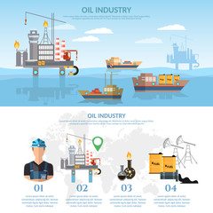 Oil industry infographics banner production process of drilling