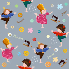 Funny kids seamless pattern playing prince and princess