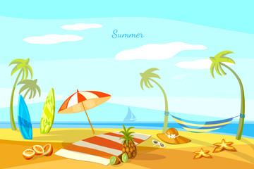 Summer beach cartoon towel umbrella starfish surf boards