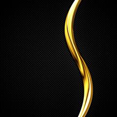 black carbon fiber and gold curve chromium frame.