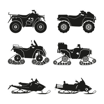 Collection of silhouettes of ATV. Set cross-country vehicles