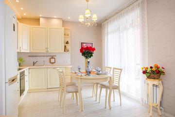 Interior bright kitchen-living room