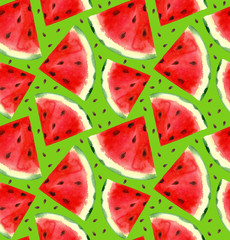 Watercolor hand painted watermelon seamless pattern. Green background.