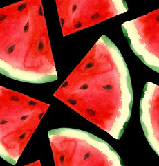 Watercolor hand painted watermelon seamless pattern. Black background.