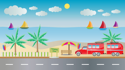 Camping Caravan car with Seascape background