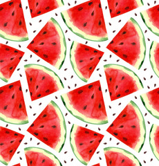 Watercolor hand painted watermelon seamless pattern. White background.