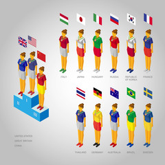 Set of Isometric 3d women champions on the podium. With flags of the countries leading in 2016 International Competition.