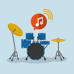drum music sound instrument icon. Flat and Colorful illustration. Vector illustration