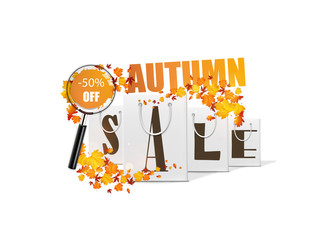 Autumn sale design template with shopping bag. Vector Illsutration,