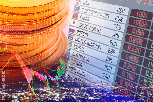 Close Up View Of Coins Digital Screen Display Panel Foreign Currency Exchange Rates And Flags With Names Each Countries Chart Financial