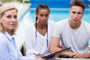 Young couple with financial adviser.