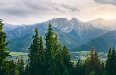 Scenic view of Western Tatra Summits at sunset