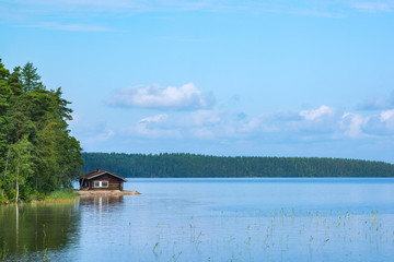 Small cabin in shore of lake in eastern Finland