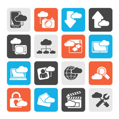 Silhouette cloud services and objects icons - vector icon set