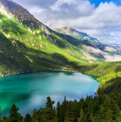 Mountain lake Morskie Oko, viewed from above.Tatra National Park, Poland