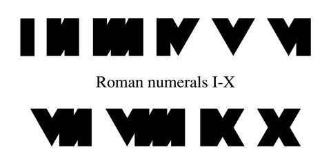 Roman numerals set 1-10