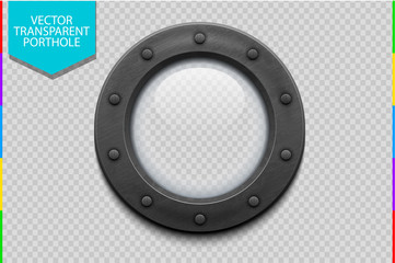 Illustration of a metal ship porthole with glass isolated on transparent background. Rivets mount.