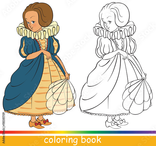 Cute Young Princess Coloring Book Or Page For Children With Colored Sample