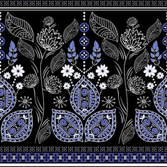 Black and blue ethnic vector border