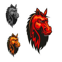 Horse stallion head and mane heraldic emblem