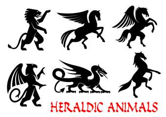 Heraldic animals emblems silhouette elements