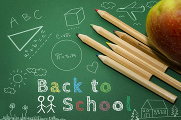 Back to school, with objects and graphic elements
