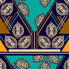 Foto auf Leinwand Buntglasfenster Colorful seamless ethnic pattern. Decorative ornament