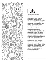 Unique illustration with line icons of fruits