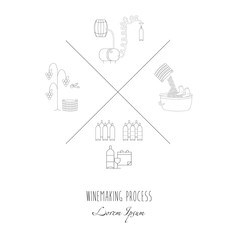 Vector illustration of winemaking