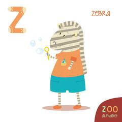 Zoo alphabet - Z letter. Cute zebra