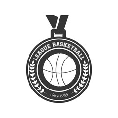 basketball medal winner championship league victory award vector illustration isolated