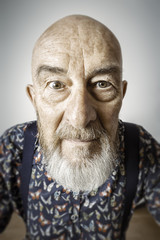 old man wide angle portrait