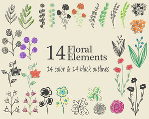 The set of hand-drawn floral elements